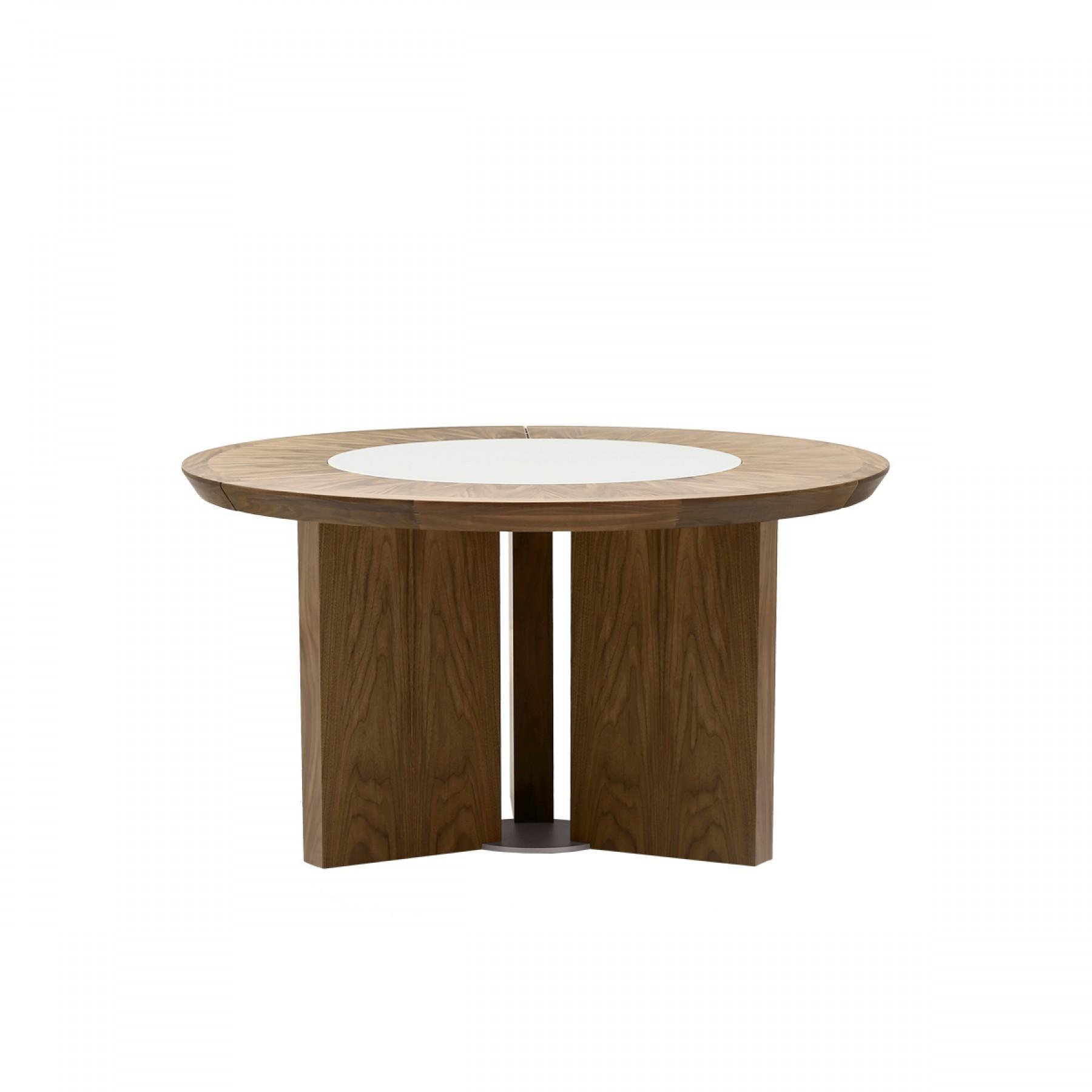 midollo walnut round dining table beyond furniture