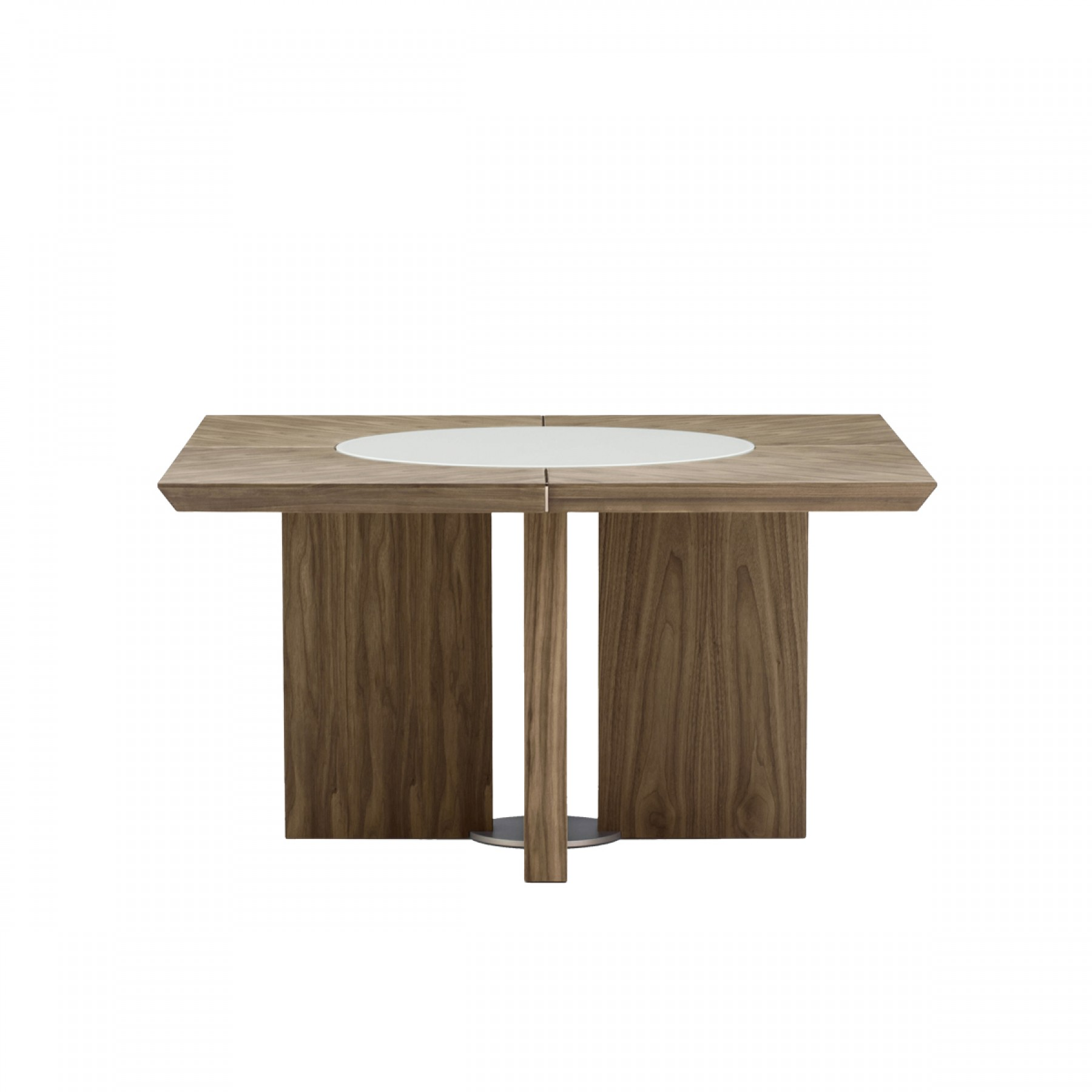 Midollo walnut square dining table beyond furniture for Square dining table