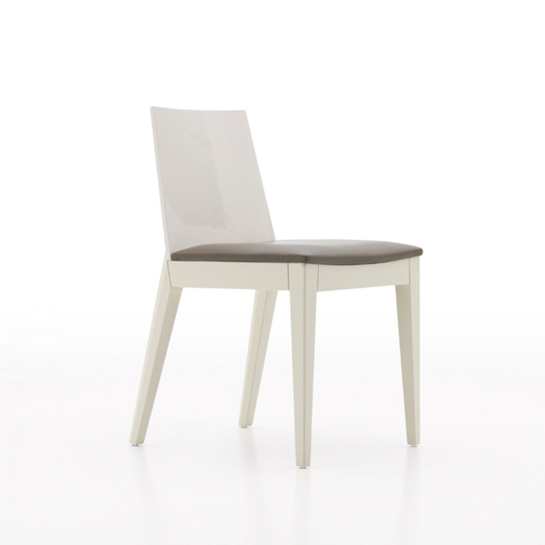 AVA DINING CHAIR GLOSSY BEIGE WITH LIGHT BROWN LEATHER