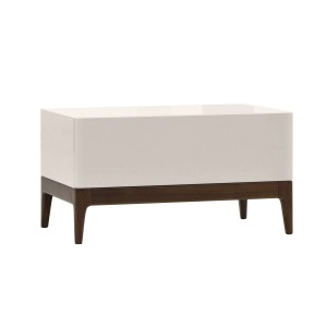 KREOS WALNUT & BEIGE BEDSIDE TABLE