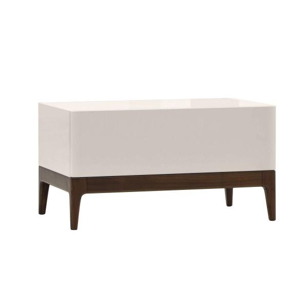KREOS WALNUT & BEIGE BEDSIDE TABLE