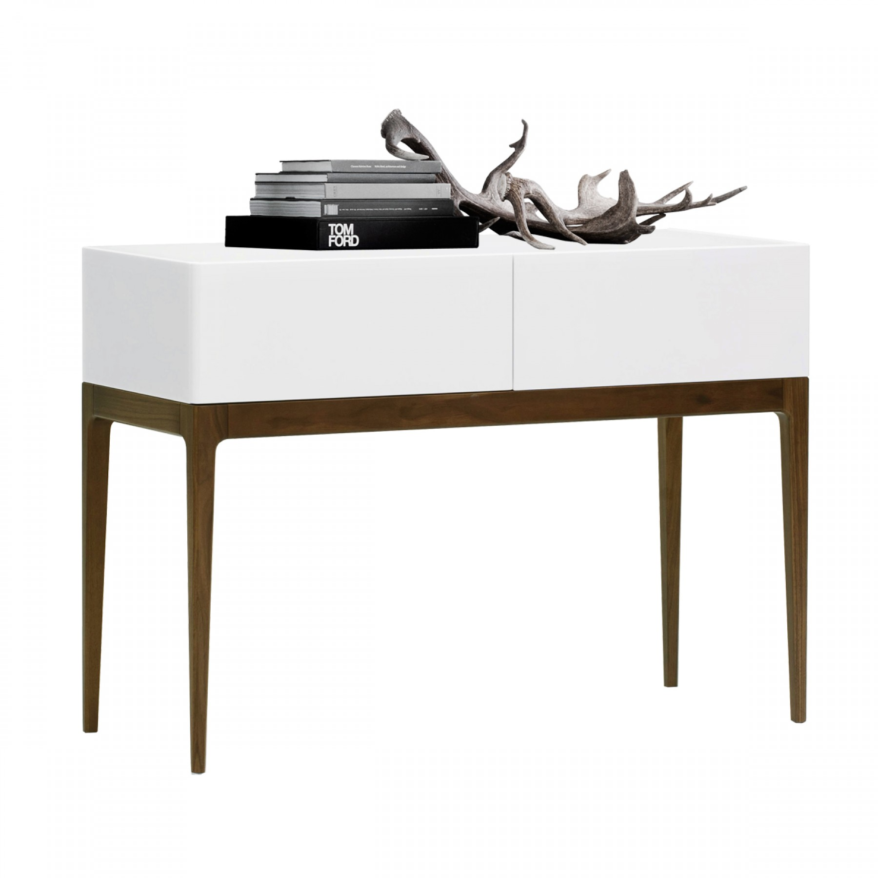 ... FELIX CONSOLE TABLE WALNUT TIMBER GLOSS WHITE ...