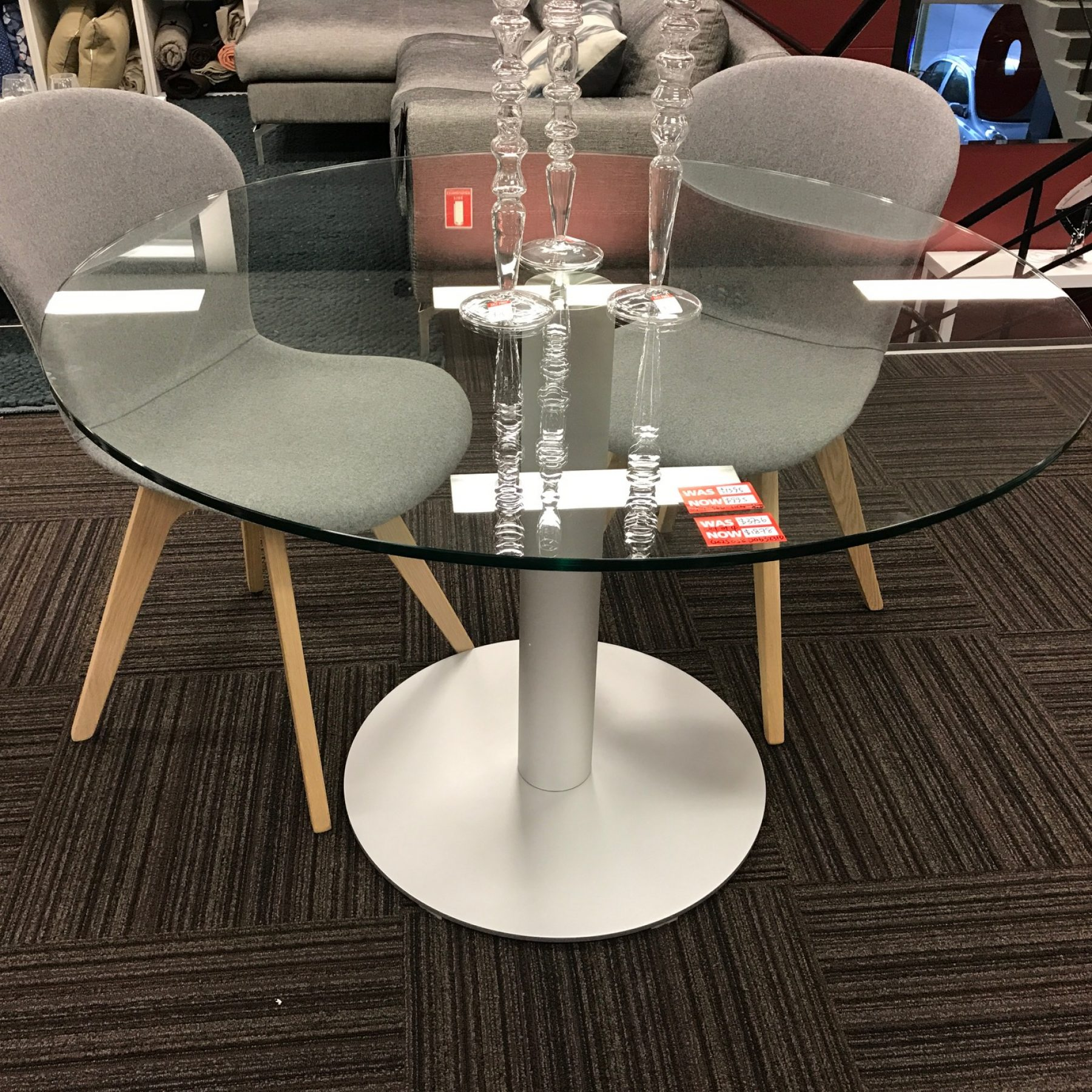 Warehouse Clearance Hudson 1100 Round Dining Table Clear