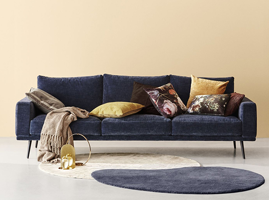 Carlton blue designer fabric sofa