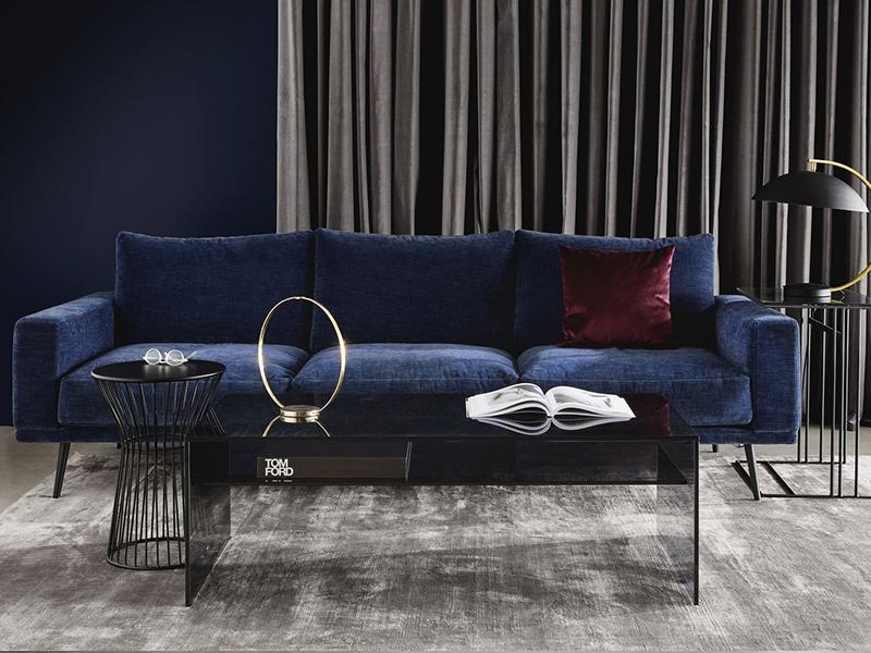 Carlton - designer blue fabric sofa