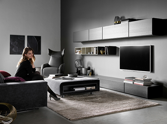 Lugano black designer TV unit by BoConcept