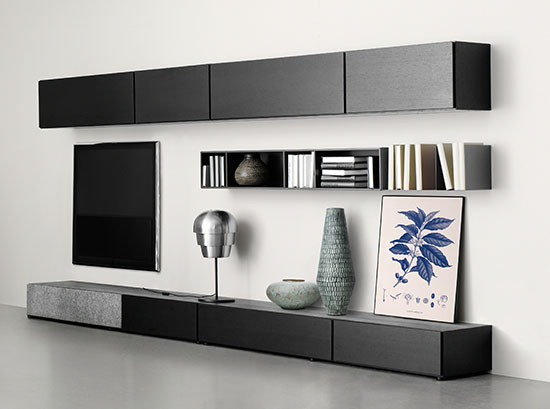 Lugano designer black TV unit by BoConcept