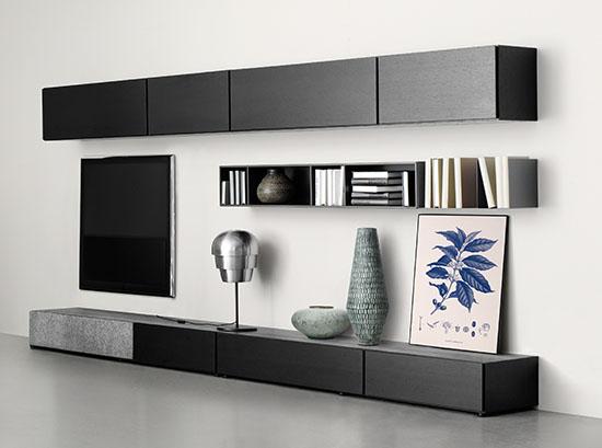 Lugano designer black TV unit by BoConcept
