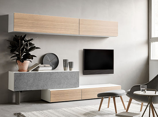 Designer wall-mounted TV unit by BoConcept - Lugano