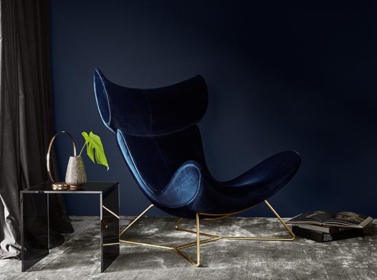 Imola Blue Velvet and Gold Armchair