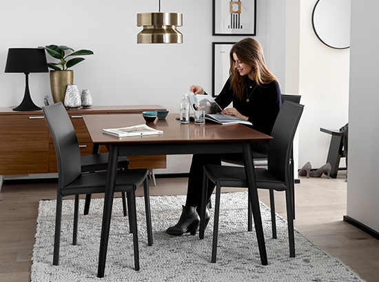 Milano Walnut and Black Dining Table