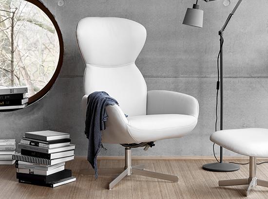 Athena White Leather Armchair