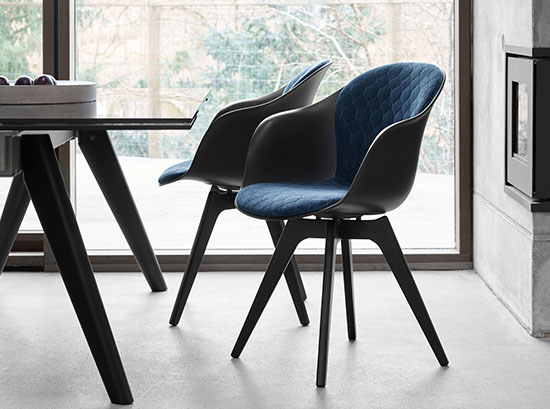 Adelaide black and blue dining chairs