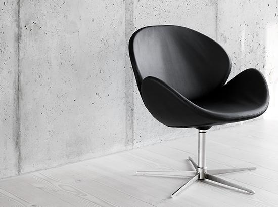Ogi Small Black Round Armchair