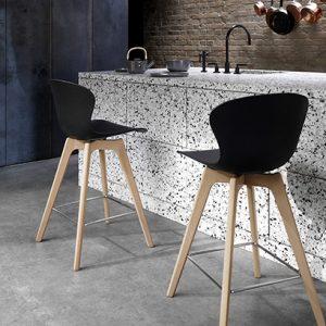 Adelaide wooden bar stool - black