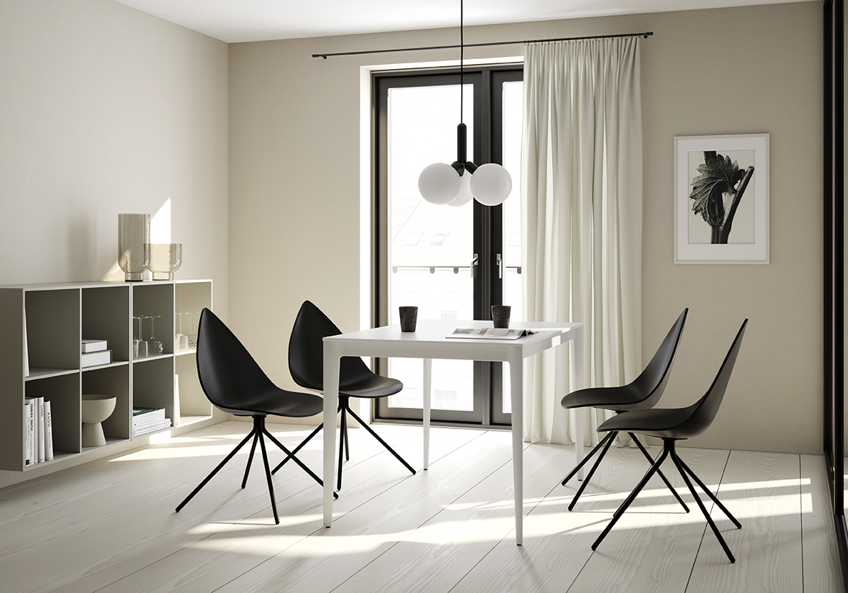 torino rectangular white dining table